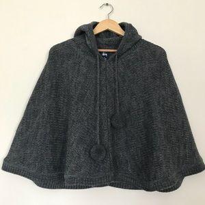 Stussy Sz M Wool pom pom poncho grey hooded